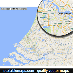 Scalablemaps vector maps of rotterdam for illustrator vector map of rotterdam netherlands sciox Gallery