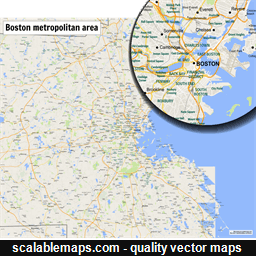 Boston On Usa Map.Scalablemaps Vector Maps Of Boston For Illustrator
