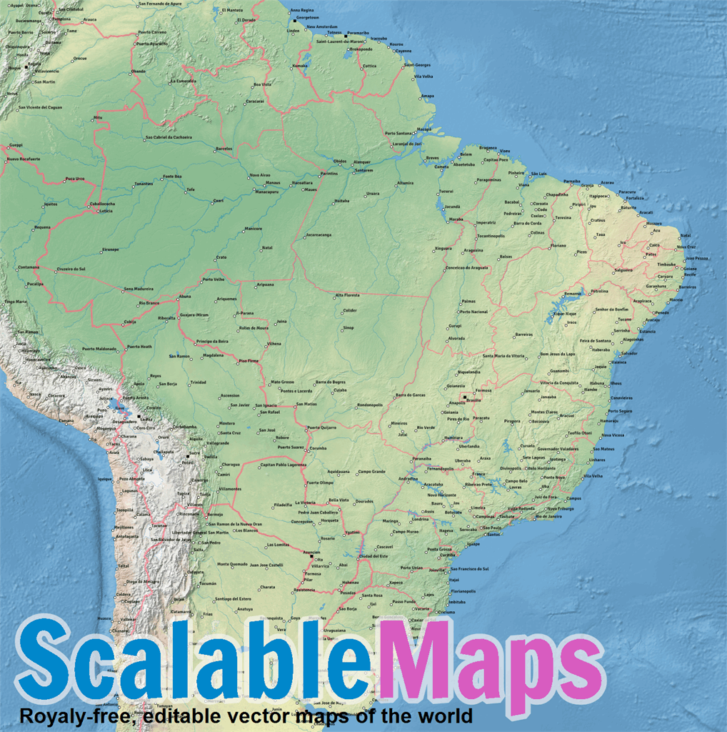 Vector map of Brazil (natural-cities-low theme) in AI and PDF formats