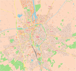 Vector map of Bruges (center), Belgium