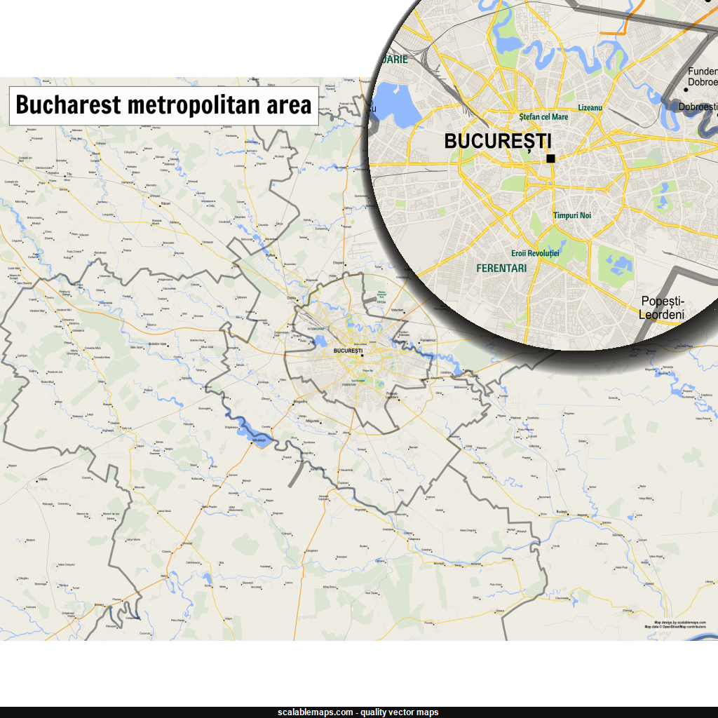 Vector map of Bucharest (gmap-regional theme) in AI and SVG formats
