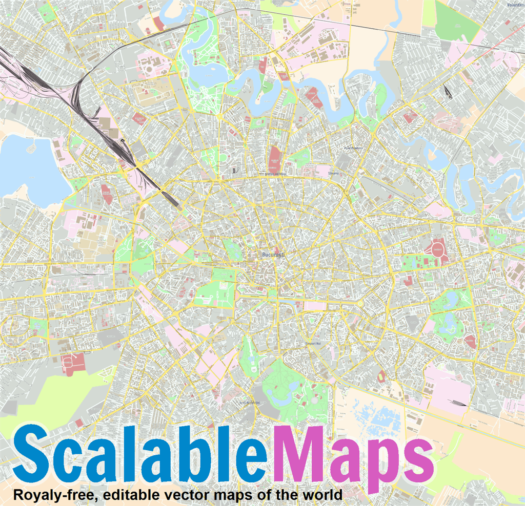 Vector map of Bucharest (center) (street theme) in AI and PDF formats