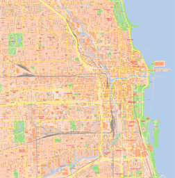 Vector map of Chicago (center), USA