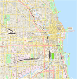 Vector map of Chicago, USA