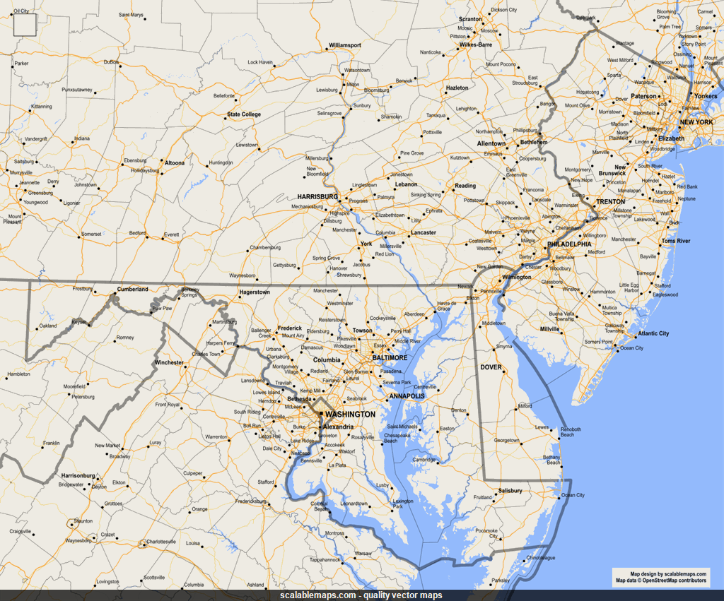 Vector map of Delaware (gmap-reg1m theme) in AI and SVG formats