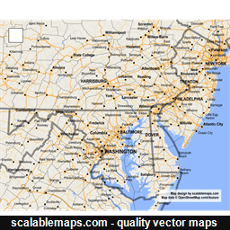 Vector map of Delaware (gmap-reg2m theme) in AI and SVG formats