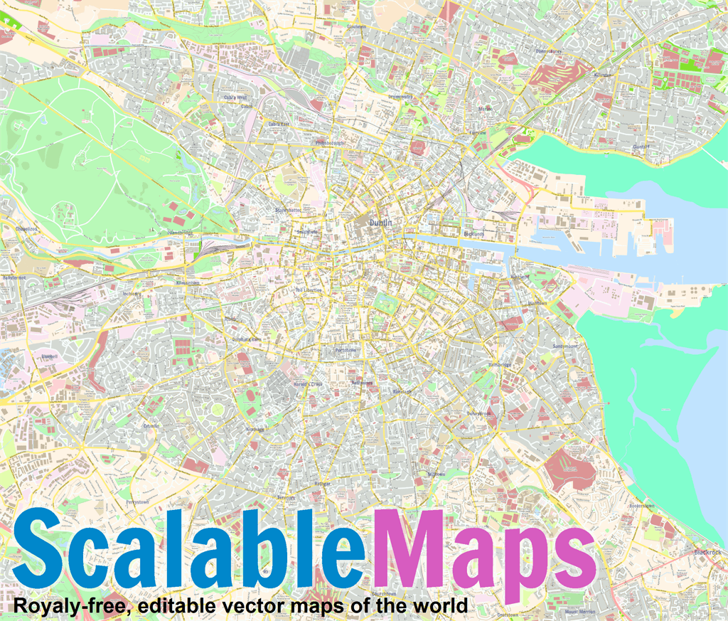 Road Map Of Ireland Pdf.Free Vector Map Of Dublin Center Colorful City Map Theme