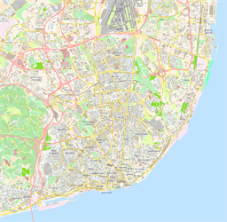Vector map of Lisbon (center), Portugal
