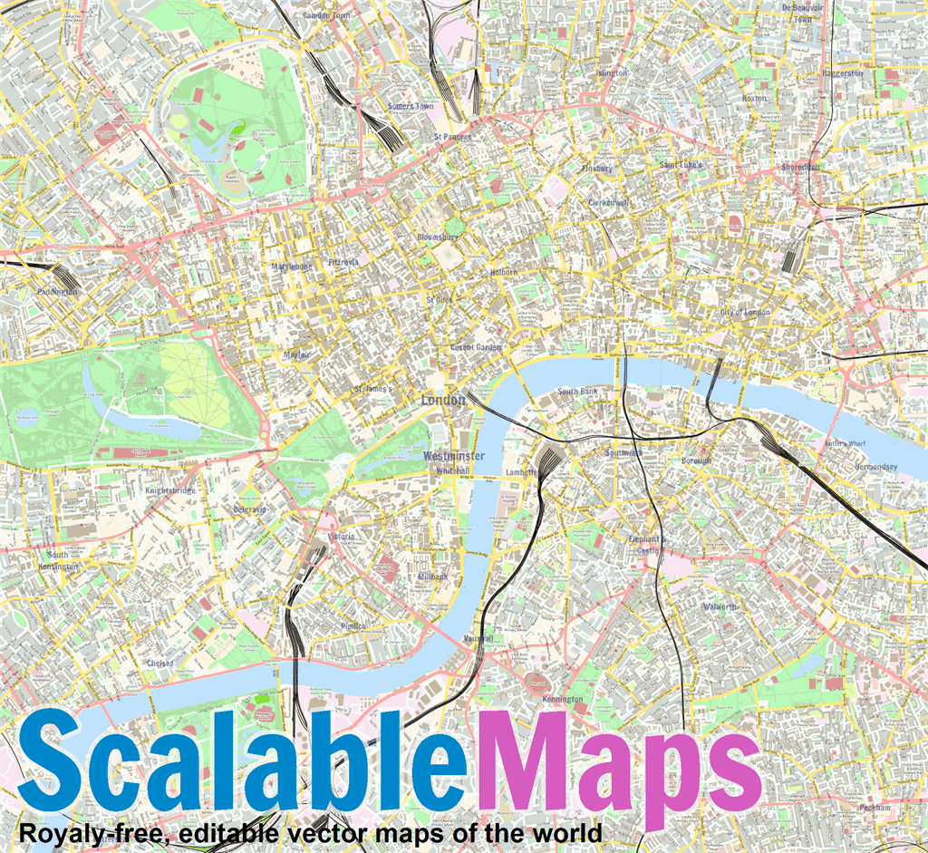 Map Of London Centre.Vector Map Of London Center Street Theme In Ai And Pdf Formats