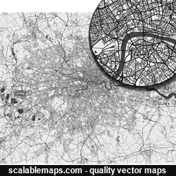 Vector map of London, UK