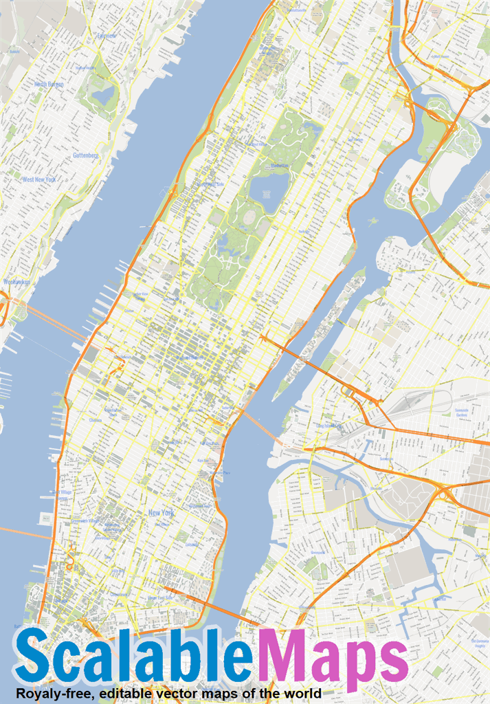 Vector map of New York City (Manhattan) (gmap theme) in AI and PDF formats