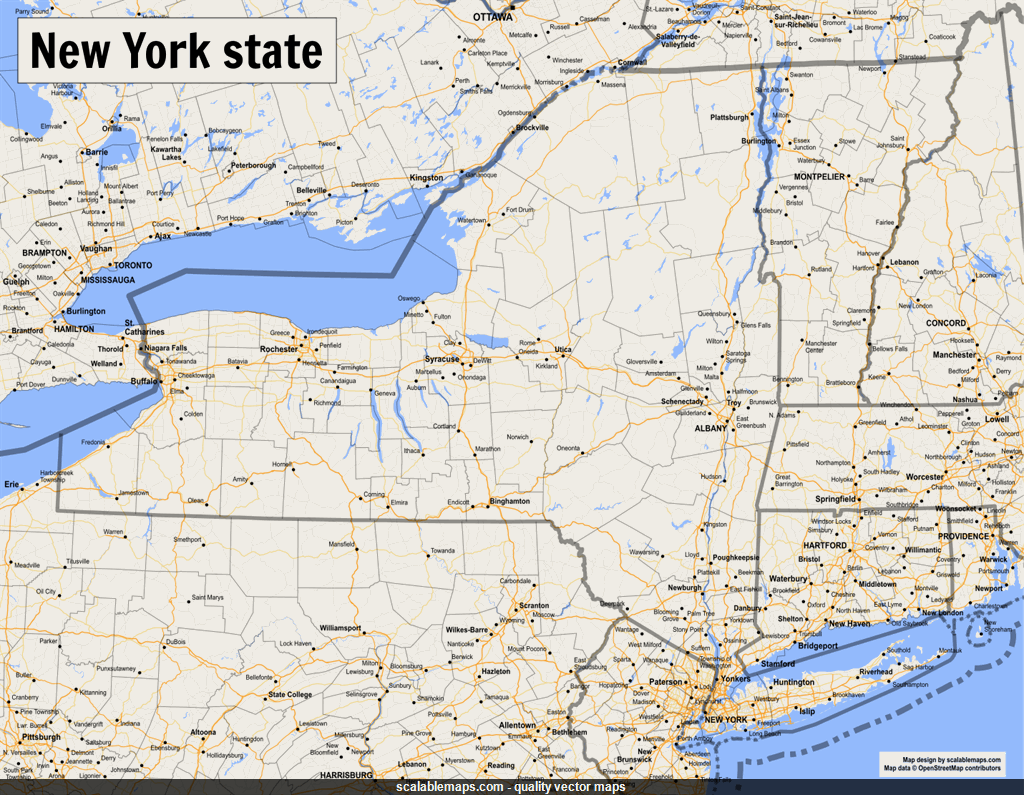 Vector map of New York (state) (gmap-reg1m theme) in AI and SVG formats