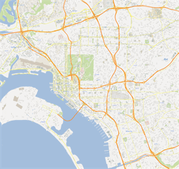 Vector map of San Diego (center), USA