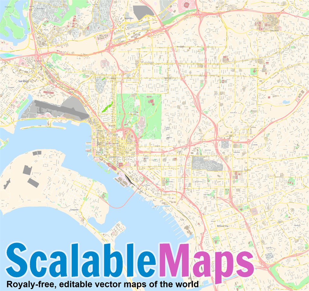 Vector map of San Diego (center) (street theme) in AI and PDF formats