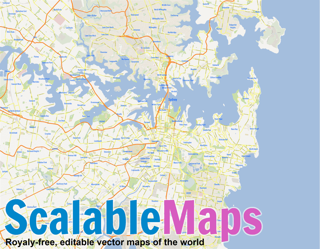 Sydney Australia Map Png.Vector Map Of Sydney Gmap Metro Theme In Ai And Pdf Formats