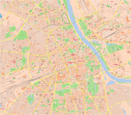 Vector map of Warsaw, Poland