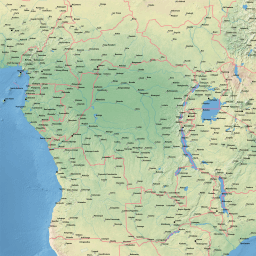Vector map of Central Africa (natural-cities-low theme) in AI and PDF  formats
