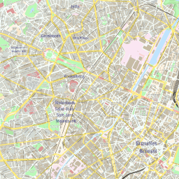 ScalableMaps: Vector map of Brussels (colorful city map theme)