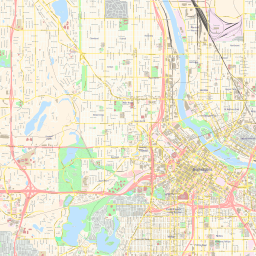 Vector map of Minneapolis (center) (street theme) in AI and PDF formats